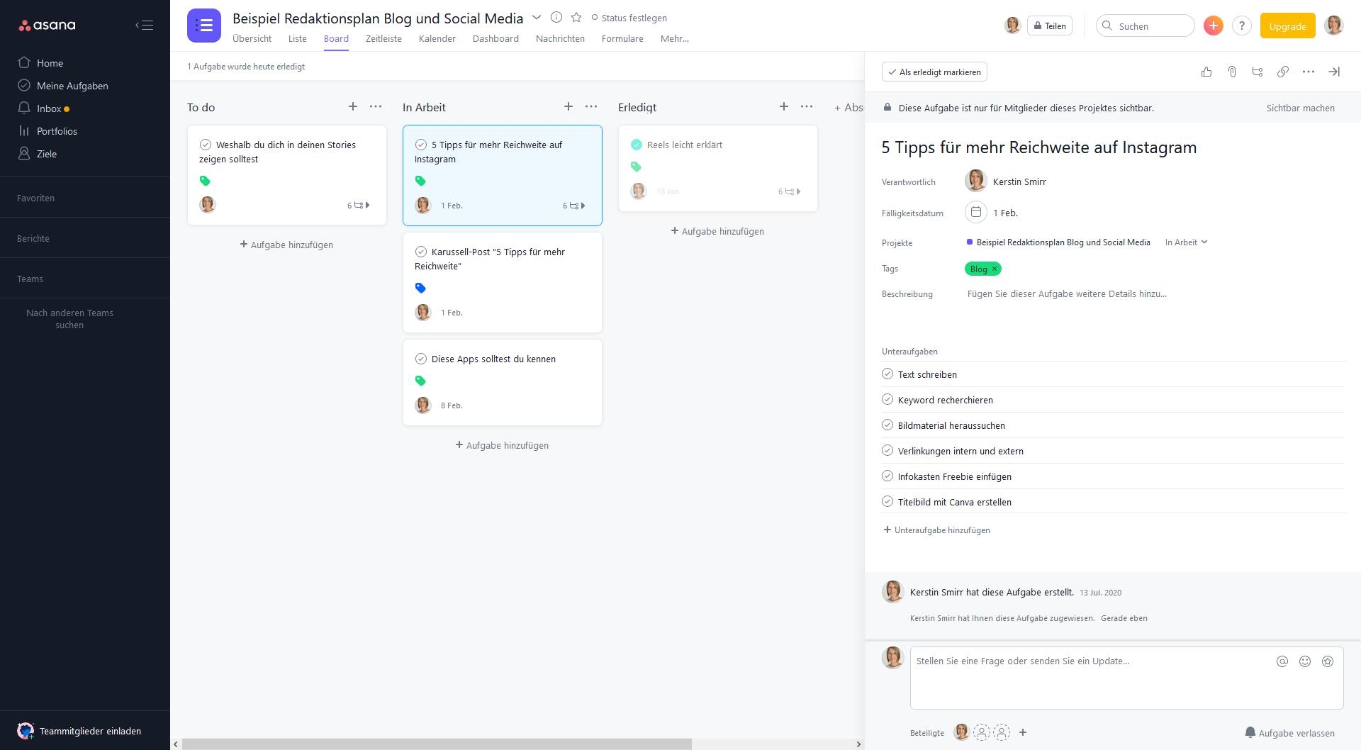 Tools für die Content-Planung bzw. den Redaktionsplan: Asana