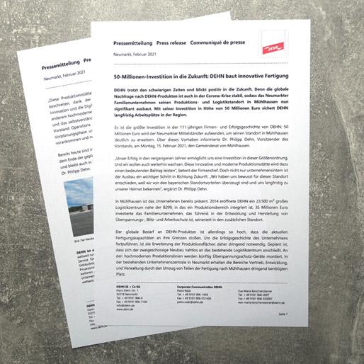 Pressemitteilung für Dehn